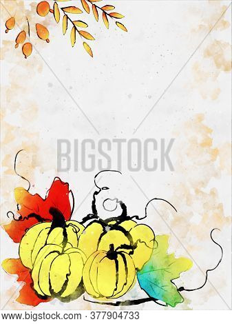 Doodle Drawing Image Of Pumpkins, Illustration For Autumn, Digital Watercolor Painting