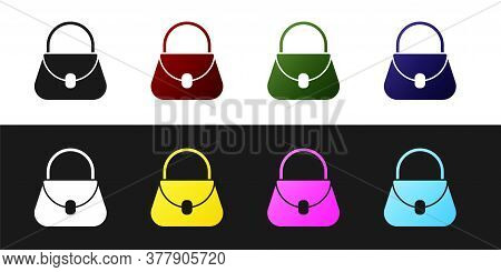 Set Handbag Icon Isolated On Black And White Background. Female Handbag Sign. Glamour Casual Baggage