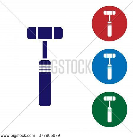 Blue Neurology Reflex Hammer Icon Isolated On White Background. Set Icons In Color Square Buttons. V