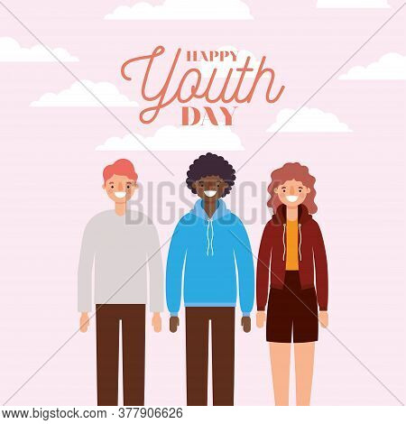Woman And Men Cartoons Smiling Of Happy Youth Day Design, Young Holiday And Friendship Theme Vector
