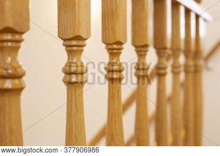 Wooden Railing Of An Luxury Antique Staircase, Woodwork Elements Macro Photograpy, Retro Design Beau