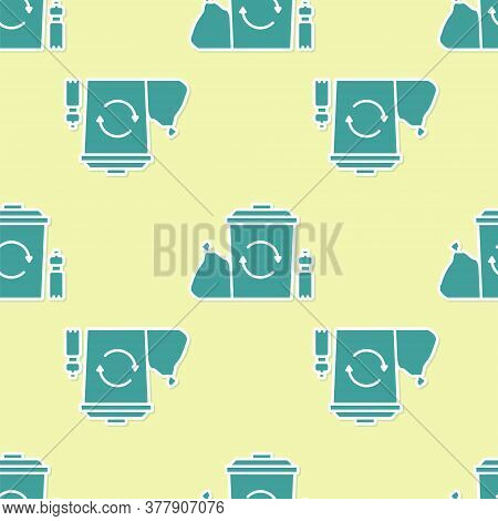 Green Recycle Bin With Recycle Symbol Icon Isolated Seamless Pattern On Yellow Background. Trash Can