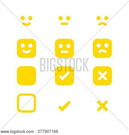 Yellow Glowing Icon Emotions Face, Emotional Symbol And Approval Check Sign Button, Emotion Faces An