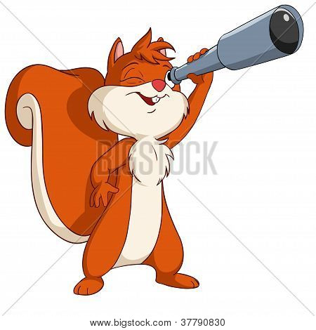 Cute Cartoon Squirrel Looking Through A Telescope