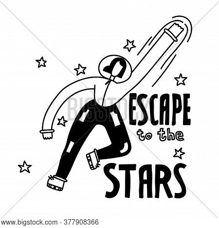 Escape To The Stars. Space Coloring Page. Space Illustration. Space Travel Illustration For Banner,