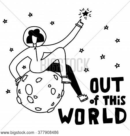 Space Coloring Page. Space Travel Illustration. Out Of This World. Astronaut Girl In Space. Sitting