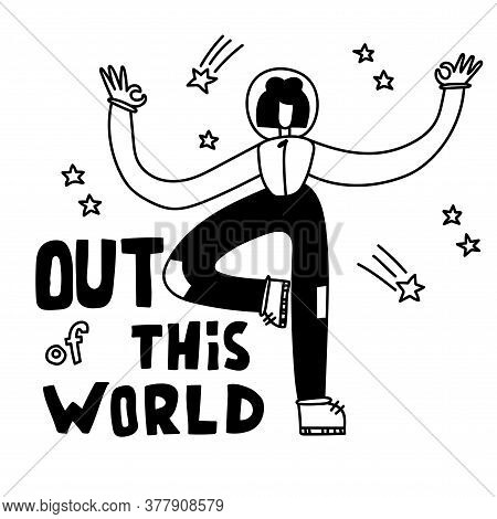 Space Coloring Page. Space Travel Illustration. Out Of This World. Astronaut Girl In Space. Meditati