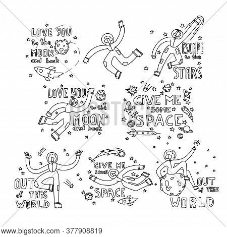 Space Coloring Page. Space Travel Illustration. Doodle Space Illustration. A Set Of Illustrations On