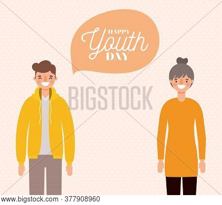 Woman And Man Cartoons Smiling Of Happy Youth Day Design, Young Holiday And Friendship Theme Vector