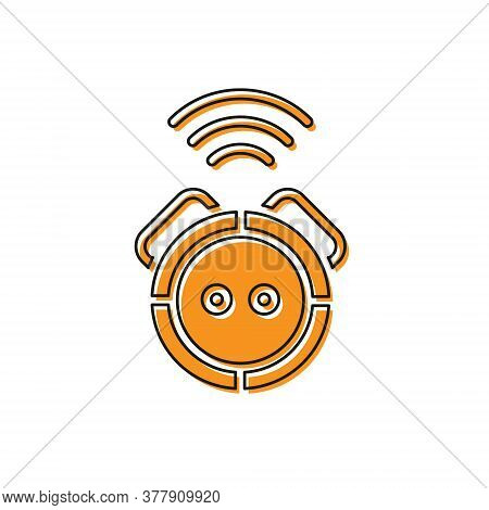 Orange Robot Vacuum Cleaner Icon Isolated On White Background. Home Smart Appliance For Automatic Va