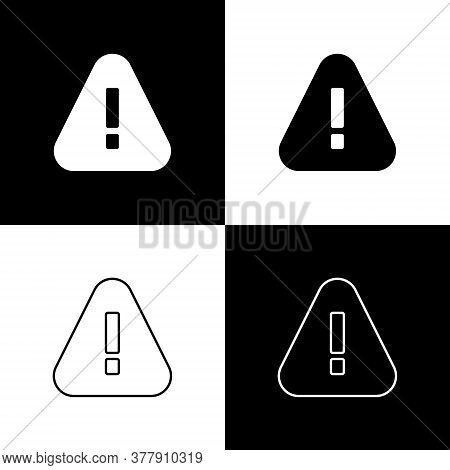 Set Exclamation Mark In Triangle Icon Isolated On Black And White Background. Hazard Warning Sign, C