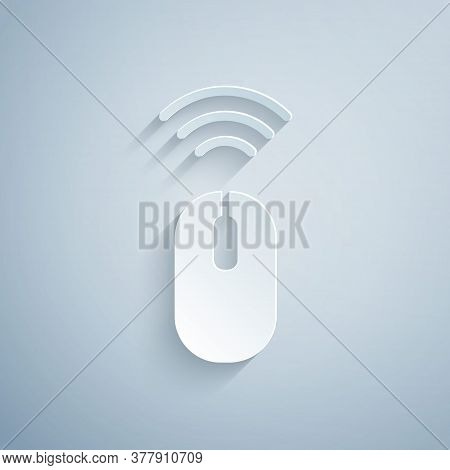 Paper Cut Wireless Computer Mouse System Icon Isolated On Grey Background. Internet Of Things Concep