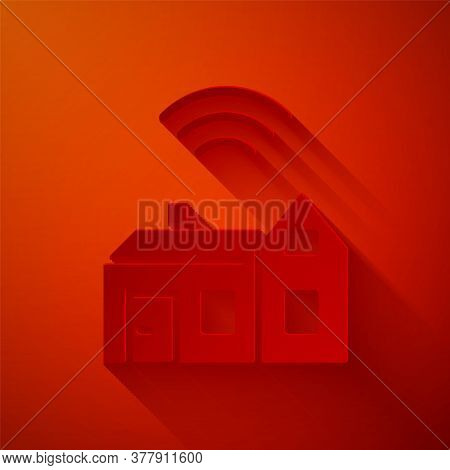 Paper Cut Smart Home With Wireless Icon Isolated On Red Background. Remote Control. Internet Of Thin