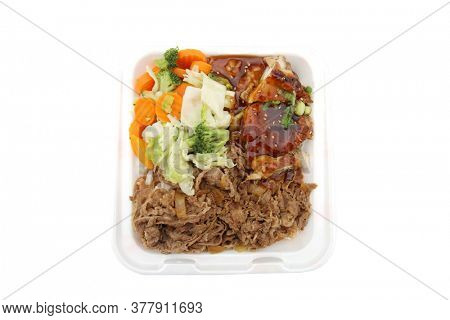 Beef, Chicken, Vegetables. Fast Food of Beef Chicken and Vegetables for Lunch or Dinner. Isolated on white.