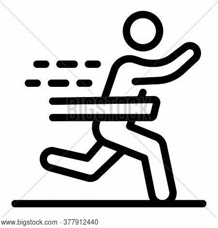 Senior Marathon Run Icon. Outline Senior Marathon Run Vector Icon For Web Design Isolated On White B