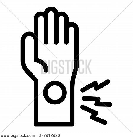 Hand Sport Injury Icon. Outline Hand Sport Injury Vector Icon For Web Design Isolated On White Backg