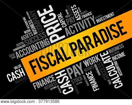 Fiscal Paradise Word Cloud Collage, Business Concept Background