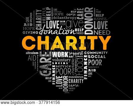 Charity Heart Word Cloud Collage, Business Concept Background