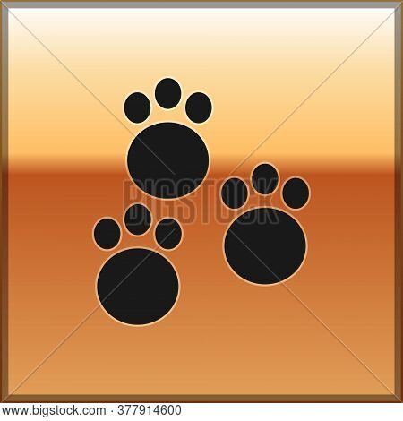 Black Paw Print Icon Isolated On Gold Background. Dog Or Cat Paw Print. Animal Track. Vector