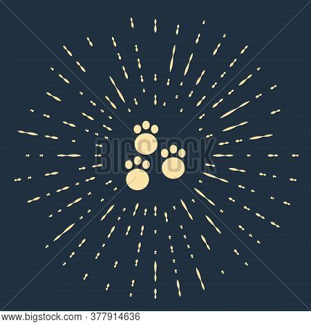 Beige Paw Print Icon Isolated On Blue Background. Dog Or Cat Paw Print. Animal Track. Abstract Circl