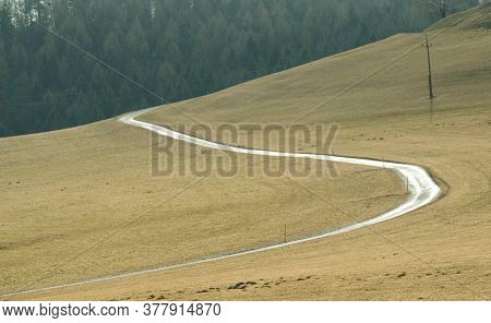 Unpaved Road On The Countryside, Hilly Landscape, Forest In Background