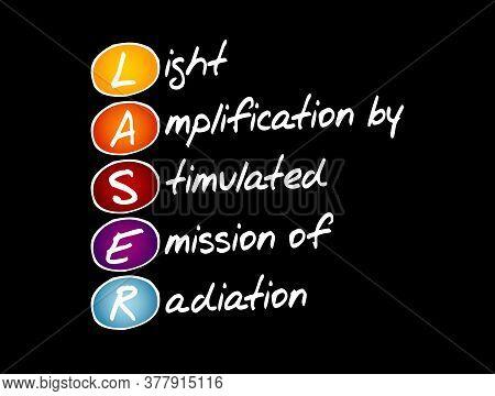 Laser - Light Amplification By Stimulated Emission Of Radiation Acronym, Technology Concept Backgrou