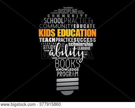 Kids Education Light Bulb Word Cloud Collage, Education Concept Background