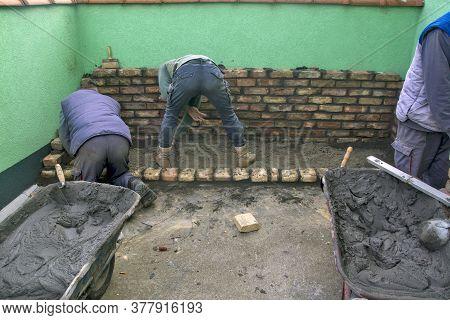 Masonry Trolley, Mortar, And Tools
