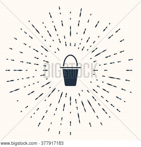 Grey Fishing Bucket Icon Isolated On Beige Background. Fish In A Bucket. Abstract Circle Random Dots