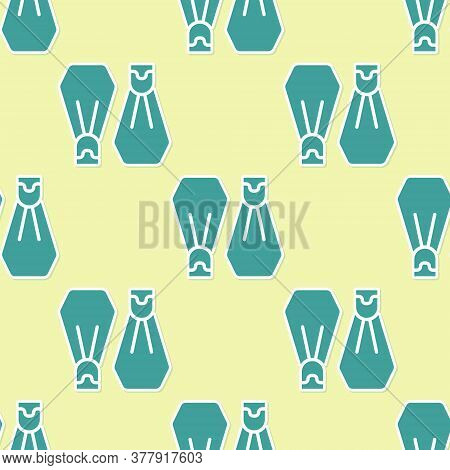 Green Rubber Flippers For Swimming Icon Isolated Seamless Pattern On Yellow Background. Diving Equip