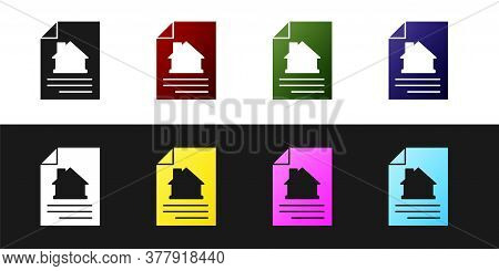 Set House Contract Icon Isolated On Black And White Background. Contract Creation Service, Document