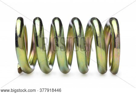 Metallic Spring Isolated On White. Side View.
