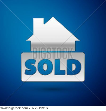 Silver Hanging Sign With Text Sold Icon Isolated On Blue Background. Sold Sticker. Sold Signboard. V