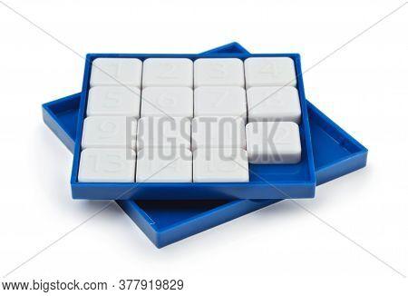 Pocket Sliding Fifteen Puzzle Game Isolated On White Background.