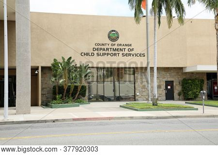 Santa Ana, California / USA - July 23-2020: County of Orange Department of Child Support Services Building. Orange County California Child Support Office.