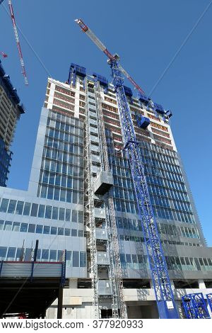 Modern Building With Cranes. Modern Buildiparis, France. July 11. 2020. Construction Site Of A Skysc
