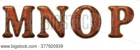 Set of leather letters M, N, O, P uppercase. 3D render font with skin texture isolated on white background. 3d rendering
