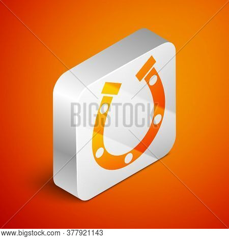 Isometric Horseshoe Icon Isolated On Orange Background. Silver Square Button. Vector