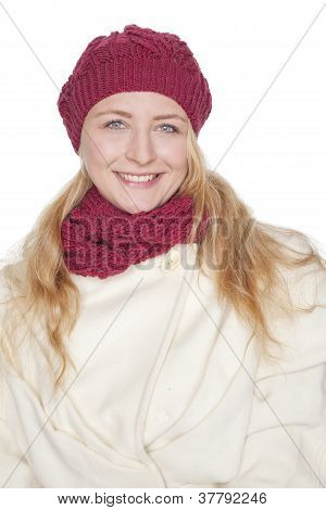 young blond woman with scarf and coat