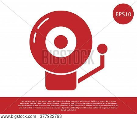 Red Ringing Alarm Bell Icon Isolated On White Background. Alarm Symbol, Service Bell, Handbell Sign,