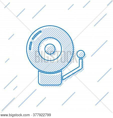 Blue Line Ringing Alarm Bell Icon Isolated On White Background. Alarm Symbol, Service Bell, Handbell