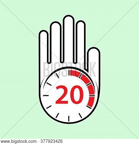 Raised, Open Hand With A Watch On It. Time For Rest Or Break, Pause. 20 Minutes Or Seconds. Flat Des