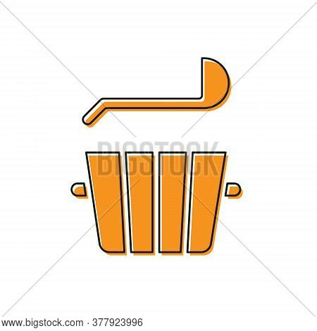 Orange Sauna Bucket And Ladle Icon Isolated On White Background. Vector