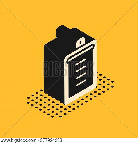 Isometric Clipboard With Checklist Icon Isolated On Yellow Background. Control List Symbol. Survey P