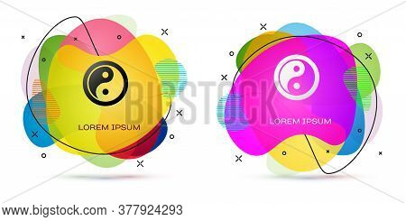 Color Yin Yang Symbol Of Harmony And Balance Icon Isolated On White Background. Abstract Banner With