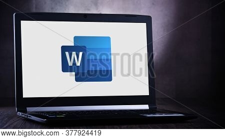 Laptop Computer Displaying Logo Of Microsoft Word