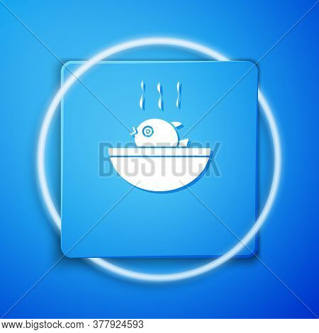 White Puffer Fish Soup Icon Isolated On Blue Background. Fugu Fish Japanese Puffer Fish. Blue Square