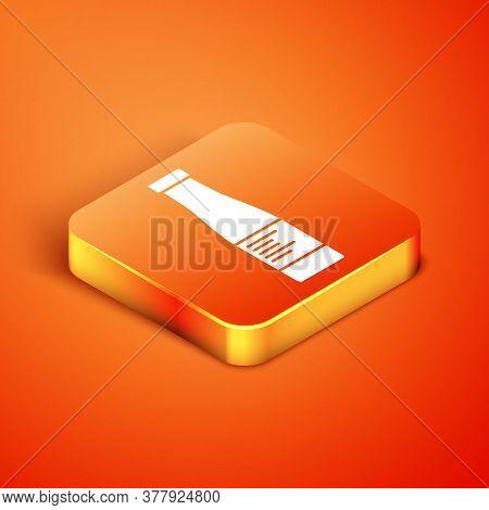 Isometric Sauce Bottle Icon Isolated On Orange Background. Ketchup, Mustard And Mayonnaise Bottles W