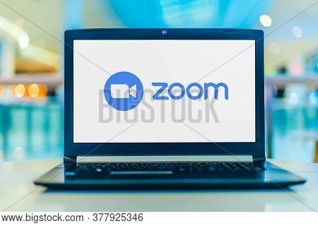 Poznan, Pol - May 6, 2020: Laptop Computer Displaying Logo Of Zoom, Videotelephony And Online Chat S