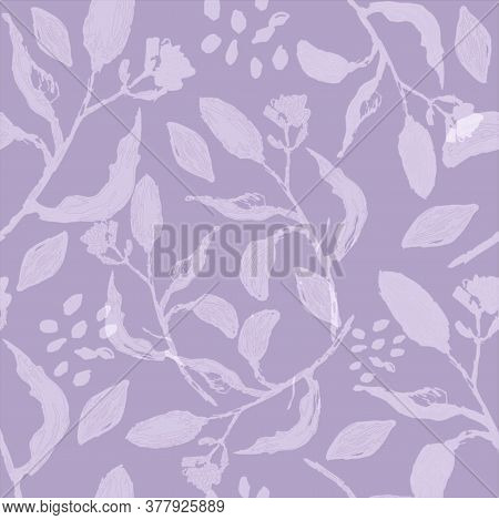 Blooming Almonds Twigs Seamless Pattern. Vector Illustration. Graphic Botanical Print. Ink Painted P